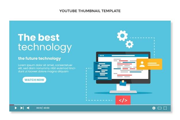 Flat design minimal technology youtube thumbnail