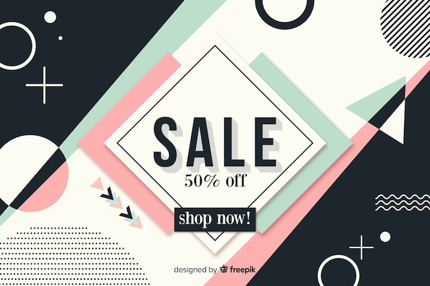 Flat design minimalist sale background
