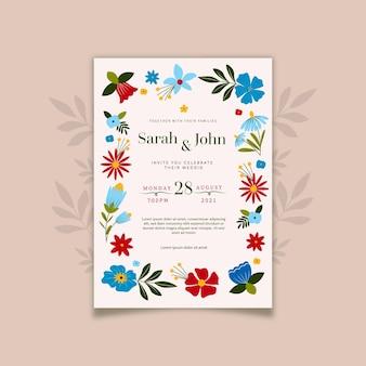 フラットデザインのミニマリストの結婚式の招待状