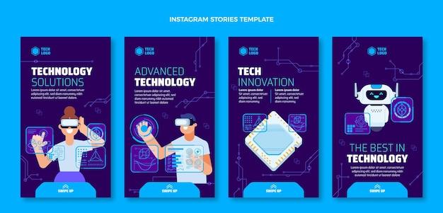 フラットデザインのミニマルなテクノロジーのインスタグラムストーリー