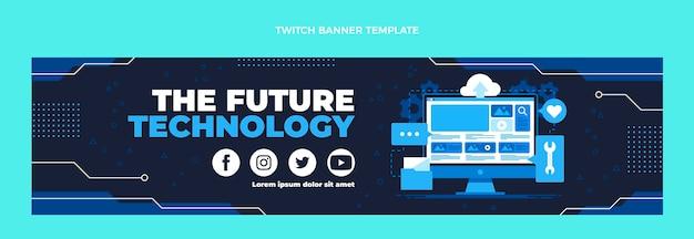Banner di contrazione della tecnologia minimalista dal design piatto