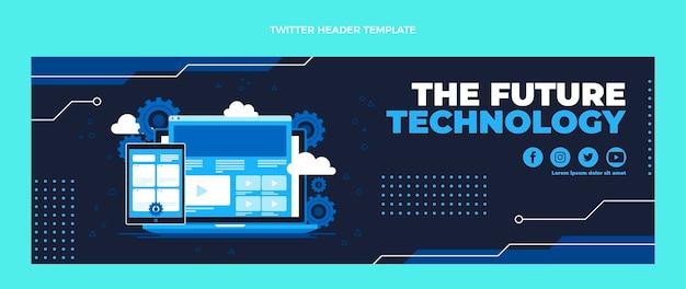 フラットデザインのミニマルなテクノロジーのツイッターヘッダー