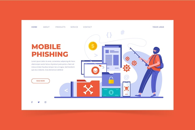 Flat design mobile phishing landing page