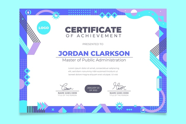 Шаблон современного академического сертификата в плоском дизайне