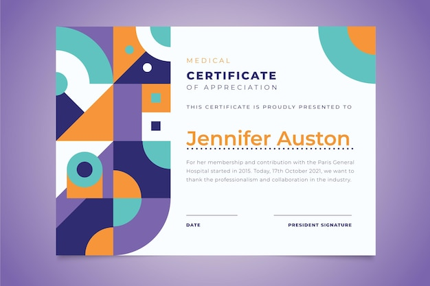 Certificato accademico moderno design piatto