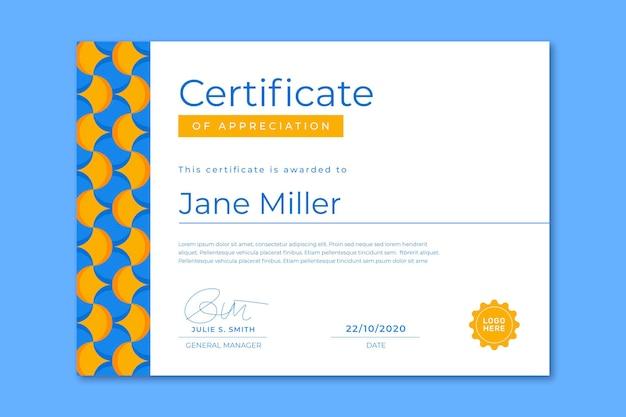 Flat design modern certificate template
