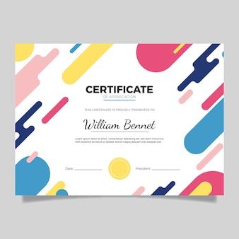 Certificato moderno design piatto
