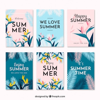 Flat design modern summer card collection