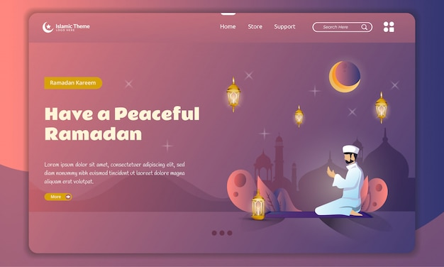 Flat design of moeslem prayer for ramadan concept on landing page