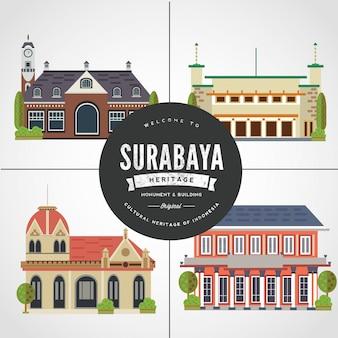 Плоский дизайн памятника сурабая восток java indonesia vol 2
