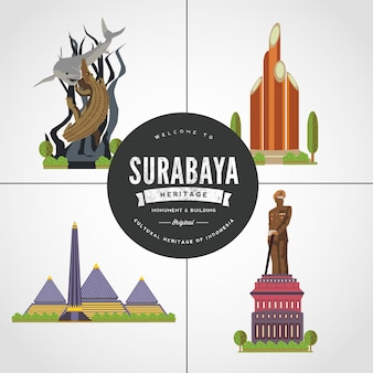 Flat design monument of surabaya east java indonesia vol 1