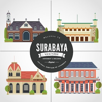 Flat design monument of surabaya east java indonesia vol 2