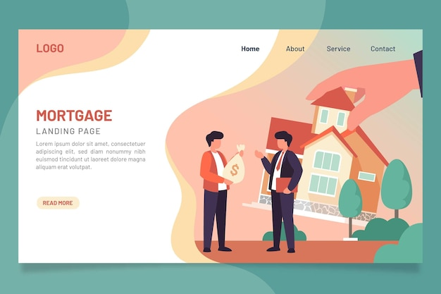 Flat design mortgage landing page template