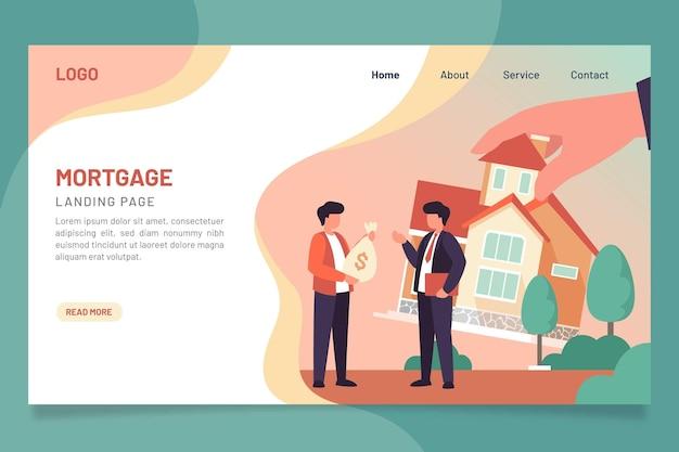 Плоский дизайн шаблона целевой страницы ипотеки
