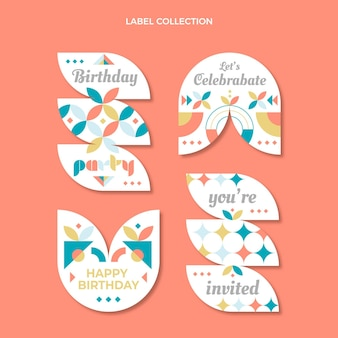 Flat design mosaic birthday badges
