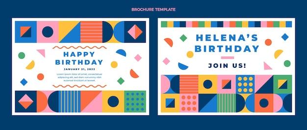 フラットデザインモザイク誕生日パンフレット