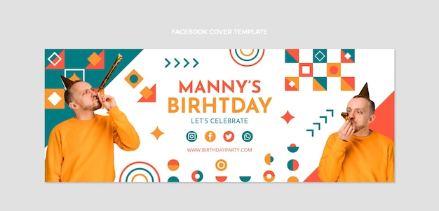 Flat designmosaic birthday facebook cover