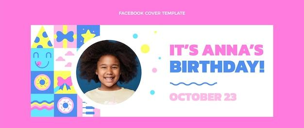 Flat design of mosaic birthday facebookcover