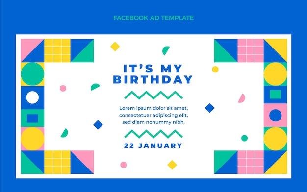 Flat design mosaic birthday facebook promo