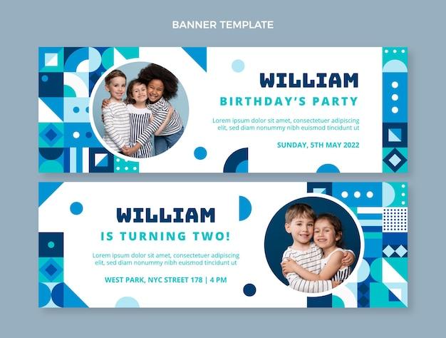 Плоский дизайн мозаики день рождения горизонтальные баннеры