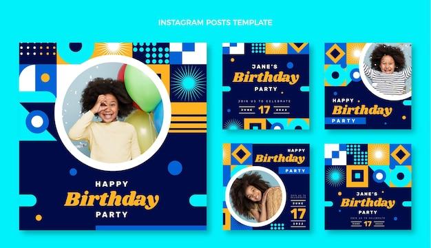 Flat design mosaic birthdayig post