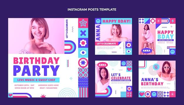 Плоский дизайн мозаики день рождения ig post
