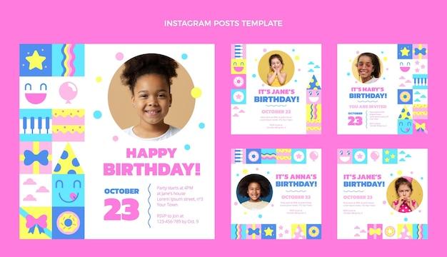 Flat design of mosaic birthday ig post