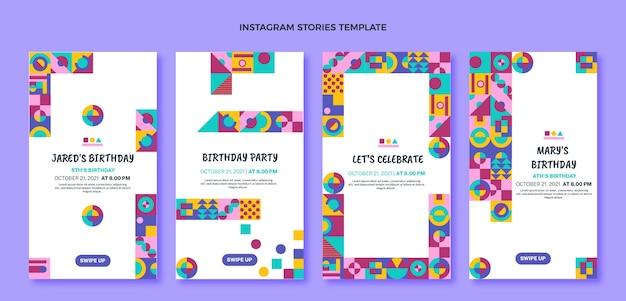 Плоский дизайн мозаики день рождения instagram рассказы