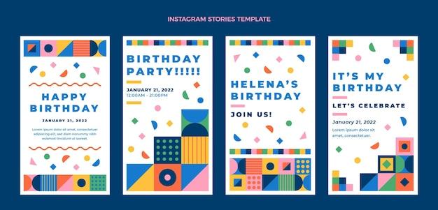 Flat design mosaic birthday instagram stories