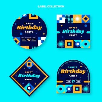 フラットデザインのモザイクの誕生日ラベルとバッジ