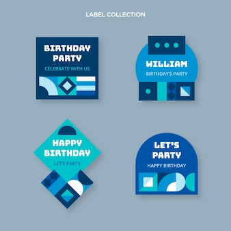 Flat design mosaic birthday labels