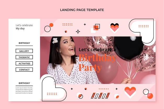 Pagina di destinazione del compleanno del mosaico di design piatto