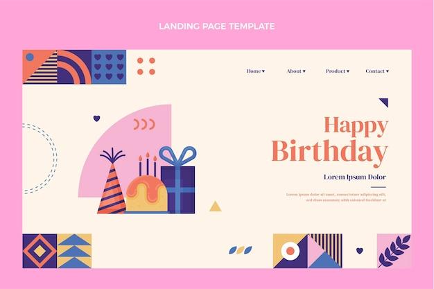 평면 디자인 모자이크 생일 방문 페이지