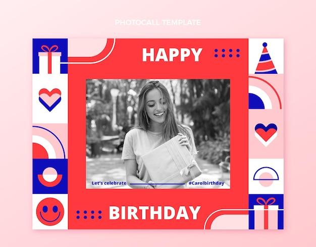 Flat design mosaic birthday photocall