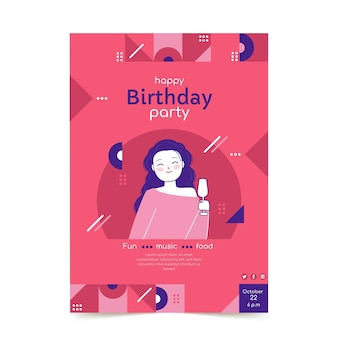 Flat design mosaic birthday poster template