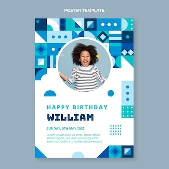 Плоский дизайн мозаичного плаката на день рождения