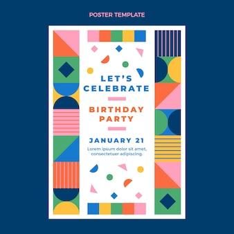 フラットデザインモザイク誕生日ポスター