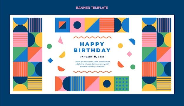Banner di vendita di compleanno di mosaico design piatto