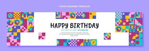 Flat design mosaic birthday twitch banner