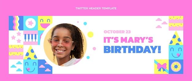 Design piatto dell'intestazione twitter compleanno mosaico