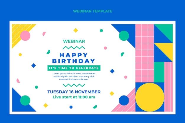 Flat design mosaic birthday webinar template