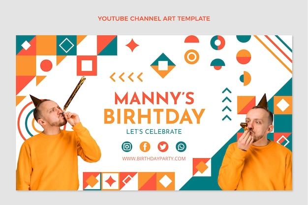 Flat designmosaicbirthday youtube channel art