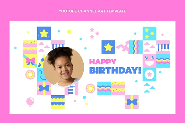 Flat design of mosaic birthdayyoutube channel art