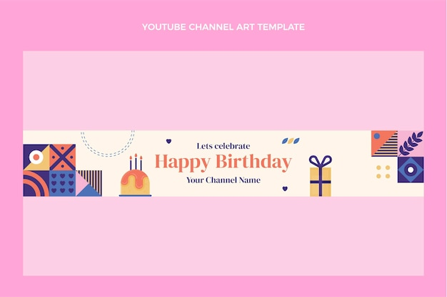 Flat design mosaic birthdayyoutube channel art