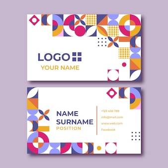 Плоский дизайн шаблона визитной карточки мозаики