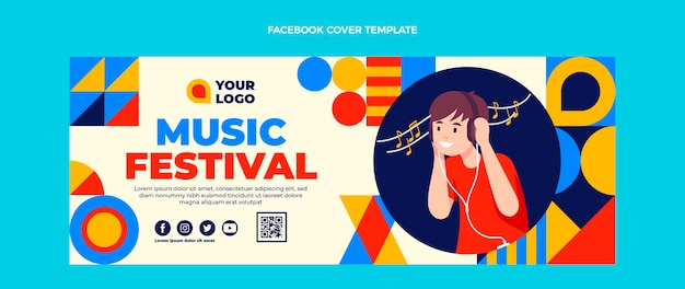 Copertina facebook del festival musicale del mosaico di design piatto