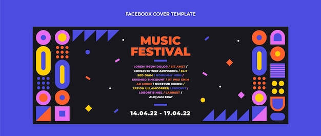 평면 디자인 모자이크 음악 축제 페이스북 커버