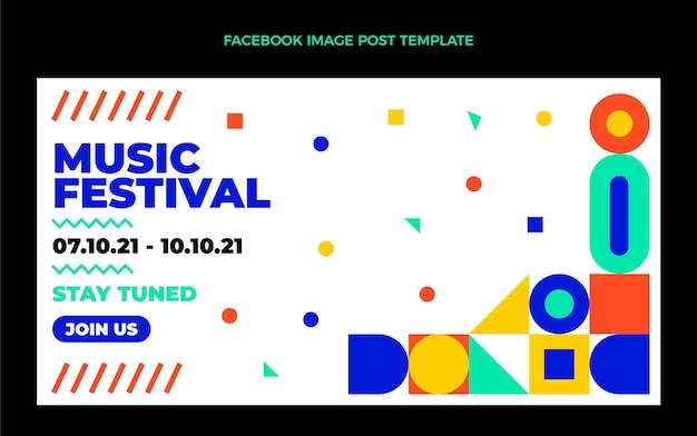 Post di facebook del festival di musica del mosaico di design piatto