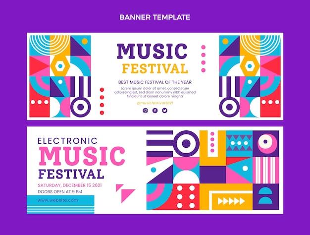 フラットデザインモザイク音楽祭横バナー