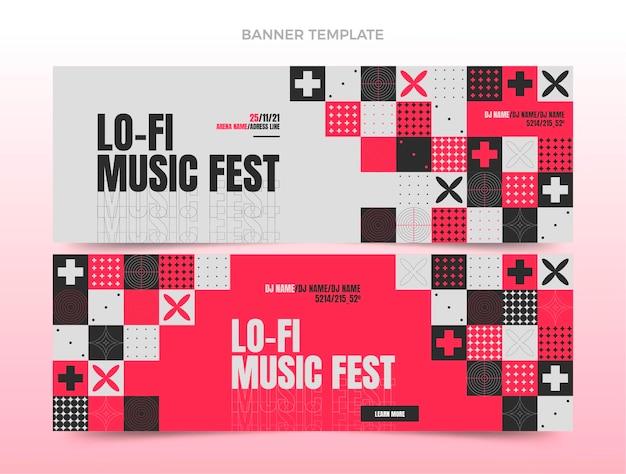 Плоский дизайн мозаики музыкальный фестиваль горизонтальные баннеры